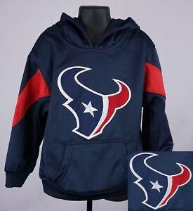 Houston Texans Sweatshirt Boys XS (4 - 5) Blue Stitched Logo Hoodie New ST147