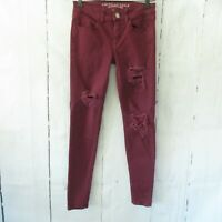 American Eagle Jegging Jeans 2 Burgundy Super Stretch Distressed Skinny Ankle