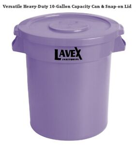 Commercial 10 Gallon Purple Round Heavy-Duty Trash Can WITH Lid Lavex Janitorial