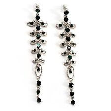 Long Vintage Statement Earrings (Silver&Emerald Green)