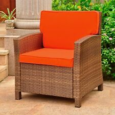International Caravan Lisbon Resin Wicker Deep Seat Chair W/Cushion, Brown