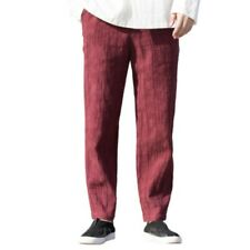 Men's Chinese style Cotton Jacquard Straight Pants Leisure Trousers Drawstring L