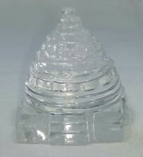 Hand Carved Natural Crystal Shree Yantra 180 Carat Good Luck Prosperity 285