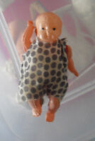 """Vintage 1930s Japan Celluloid Baby Boy Character Doll 3 1/2"""" Tall"""