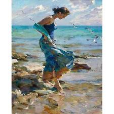 "Blue Sea Seascape Paint by Number Kit Woman Girl Seashore DIY Oil Painting 20"""