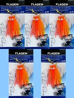 5 Red Orange Pink Muppet Rigs 3 Hook 6/0 Fishing Mackerel Cod Feathers Fladen