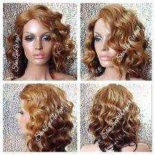 Short Wavy Beyonce Blonde Brown Ombre Mixed Bob Full Wig Heat Safe Ok