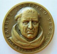 "Bronze California Statehood Art Medal ~ Father Junipero Serra ~ 1962 1.25"""