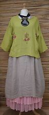 LAGENLOOK BEAUTIFUL LINEN/COTTON APPLIQUE FLOWERS MOTIF TOP*LIME*BUST UP TO 50""