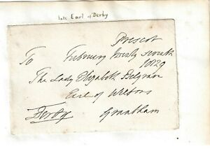 Edward Smith-Stanley, 12th Earl of Derby. UK MP  Signed Free Front 1829