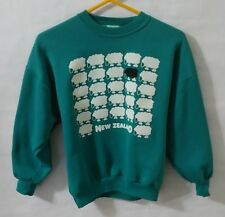 Vintage 80s New Zealand Sheep Sweatshirt L/S Womens Size S Small Teal Souvenir