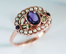 1185 Genuine 9K Solid Rose Gold NATURAL Amethyst & Peridot Suffragette Ring sz P