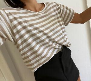 Bassike Beige Stripe Shirt