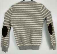 J CREW Lambs Wool Sweater Leather Sleeve Elbow Patches Mens S Gray White EUC