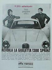PUBLICITE ALFA ROMEO AUTOMOBILE GIULIETTA 1300 SPRINT DE 1964 FRENCH AD PUB