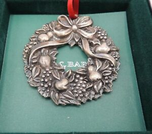 Reed & Barton Harvest Wreath Christmas Ornament with Box