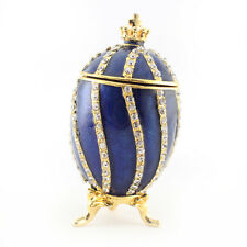 Blue Faberge Egg Jewelry Trinket Box Decoration Present Cute Gift Collect 02026B