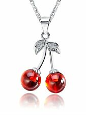 Ginger Lyne Collection Cherry Red Agate Stone Sterling Silver Pendant...