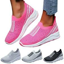 Women Slip On Diamante Casual Trainers Fitness Sport Running Sneakers Shoes Size