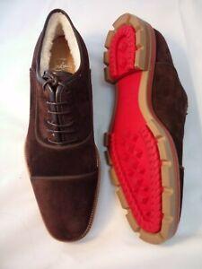 CHRISTIAN LOUBOUTIN 39.5 Derby Hubertoucho Brown Suede Oxford Fur Men NEW $1245