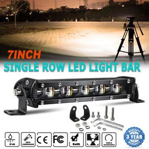 7inch Led Light Bar Spot&Flood Single Row Amber Fog Light Work Driving Light ATV