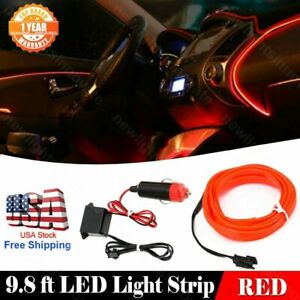 3M Car Neon Light Strip EL Wire Decorative Atmosphere RED Cold Light For Nissan
