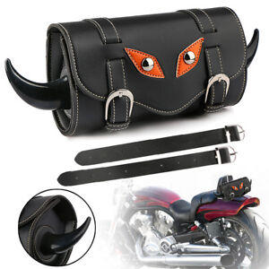 Motorcycle Handlebar Sissy Bar Bag Saddlebag Fork Roll Barrel Bag For Harley All