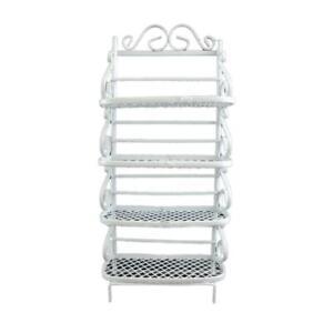 Dolls House White Wire Wrought Iron Bakers Rack Shelf Unit Miniature Furniture