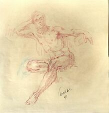 Harry Carmean life drawing of seated male nude 1991