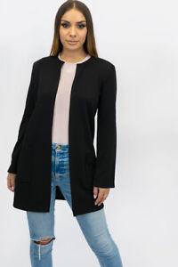 New UK Womens Ladies Collarless Pocket Detail Duster Coat/Jacket Sizes S/M - XXL