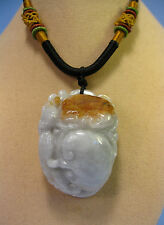 """Handcrafted knot work cord adjustable jade carved """"RuYi"""" pendant/necklace"""
