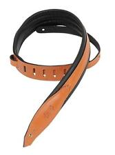 """Levy's Guitar Strap, MSS80-TAN, 2"""" Carving Leather w/ Foam Padding, Tan"""