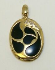 925 Sterling Silver Natural Black Onyx Pendant 12.4 Grams 14k Yellow Gold Over