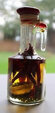 Small Oil Vinegar Infused Red Peppers and Leaf Decorative Kitchen Glass Bottle