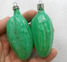 2 Vintage Russian USSR Glass Christmas Tree Ornament Xmas Decorations Pickles