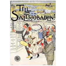 Till Saltsjöbaden Travel Poster Deco FRIDGE MAGNET, 1896 Sweden Mini Gift