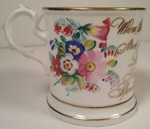 Staffordshire Pottery c.1850 Souvenir Motto Shaving Mug Cup Florals Calligraphy