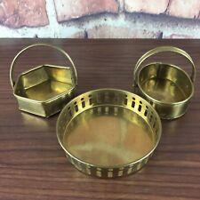 Lot 3 Small Brass Indian Trinket Trays Oval Round Hexagon