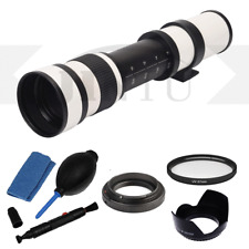 JINTU 420-800mm Telephoto Lens + Cleaning Kit  For Canon EOS EF Camera White