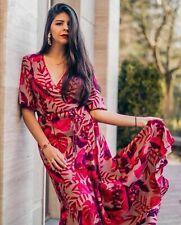 In Stock! H&M Johanna Ortiz red Leaf leaves Wrap Dress MEDIUM