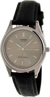 Casio Men's Stainless Steel Casual Watch w/ Black Leather Strap MTP1093E-8a