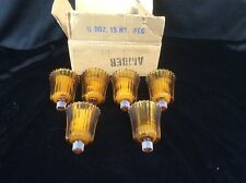 6 Vtg Homco Home Interiors Ribbed Amber Peg Votive Cups Candle Holders w grommet