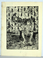 """11"""" Vintage Print Etching Jaime Hennon Nude Man In Room Gay Interest Abstract AP"""