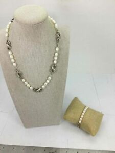 .925 Silver Lot Of 2 Pearl Bracelet + Necklace