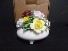 ROYAL DOULTON MIXED FLOWER BOWL DISPLAY HAND MADE & PAINTED & MADE IN ENGLAND