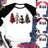 Women's Christmas Tree Print Regular Sleeve T-shirt Xmas Long Sleeve Tops Blouse