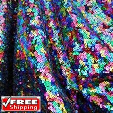 Multi color Sequin Fabric By the Yard, Sequins on Black Mesh Fabric -MCSQ