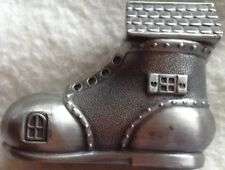 MONEY BOX BOOT/SHOE AS A HOUSE WITH WINDOWS,DOOR & ROOF SILVER COLOUR WITH STOP