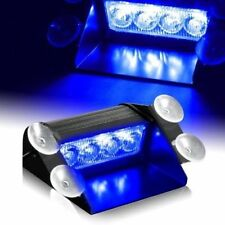 12V 4LED Car Truck Emergency Warning Flashing Strobe Windshield Dash Light Blue
