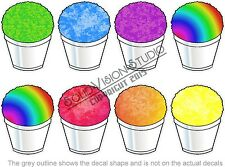 "9""H Each Sno Balls Shave Shaved Ice 8pc Decal Set Concession Trailer Truck Sign"